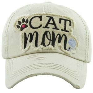 Cat Mom Cap Baseball Hat Distressed Embroidered